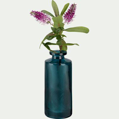 Vase en verre bleu niolon forme bouteille H13 cm-Zante