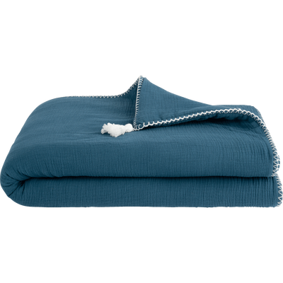 Plaid coton 100x150 cm - Bleu figuerolles-AZALEE