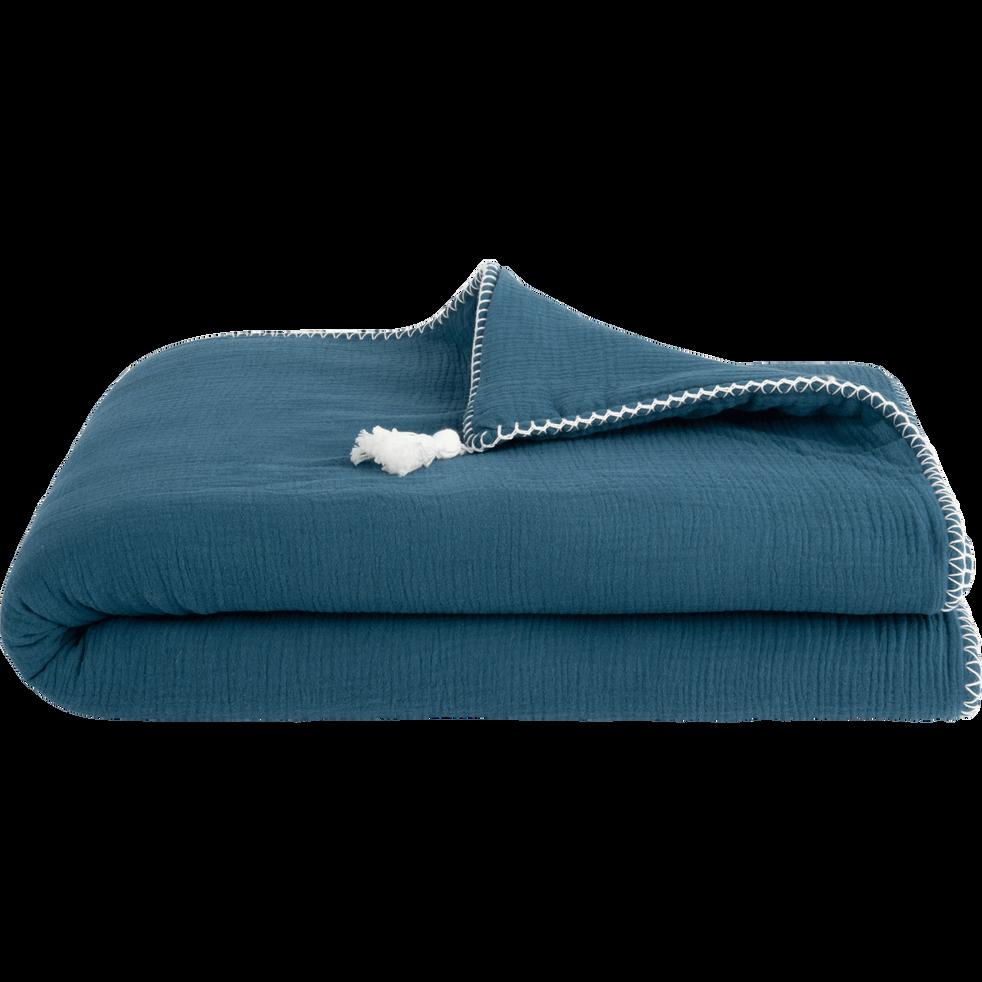 Plaid en gaze de coton 100x150 cm - Bleu figuerolles-AZALEE