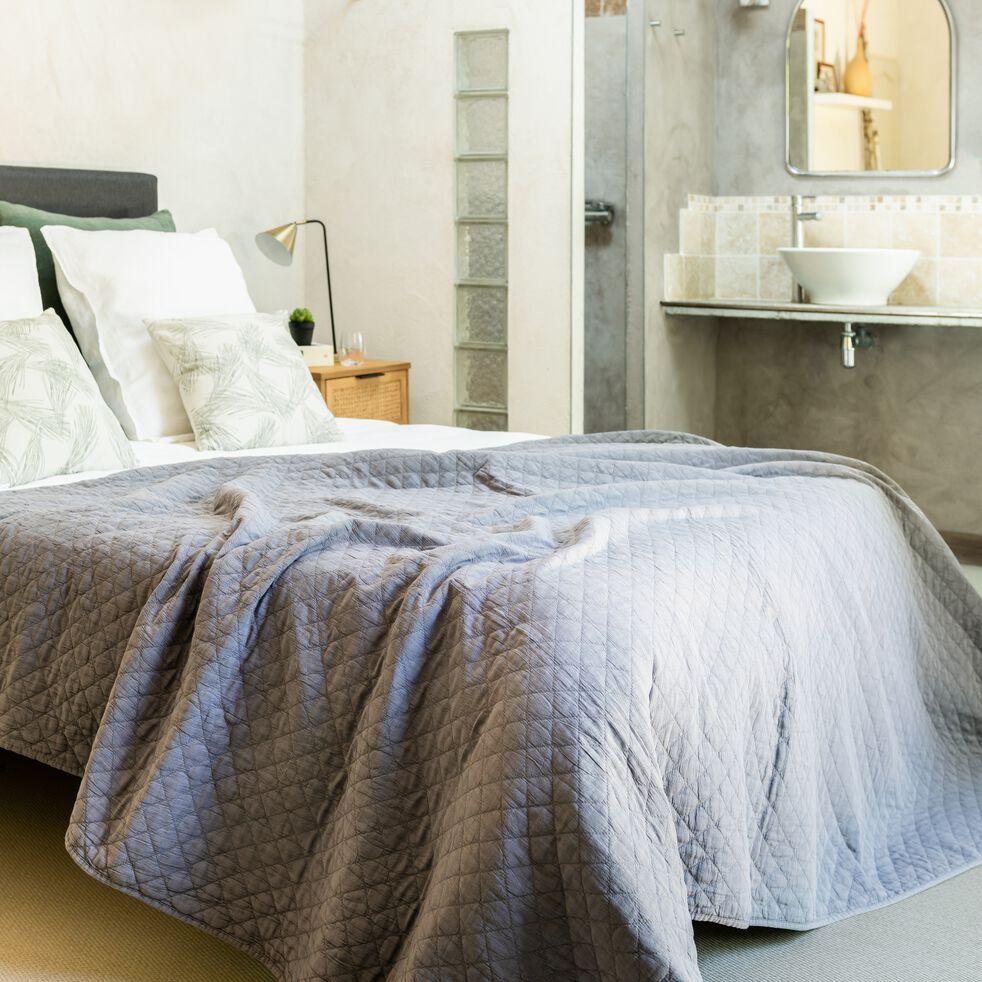 Couvre-lit en polyester effet lavé - gris restanque 230x250cm-THYM