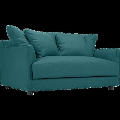 Canapé 2 places fixe en tissu bleu niolon-LENITA