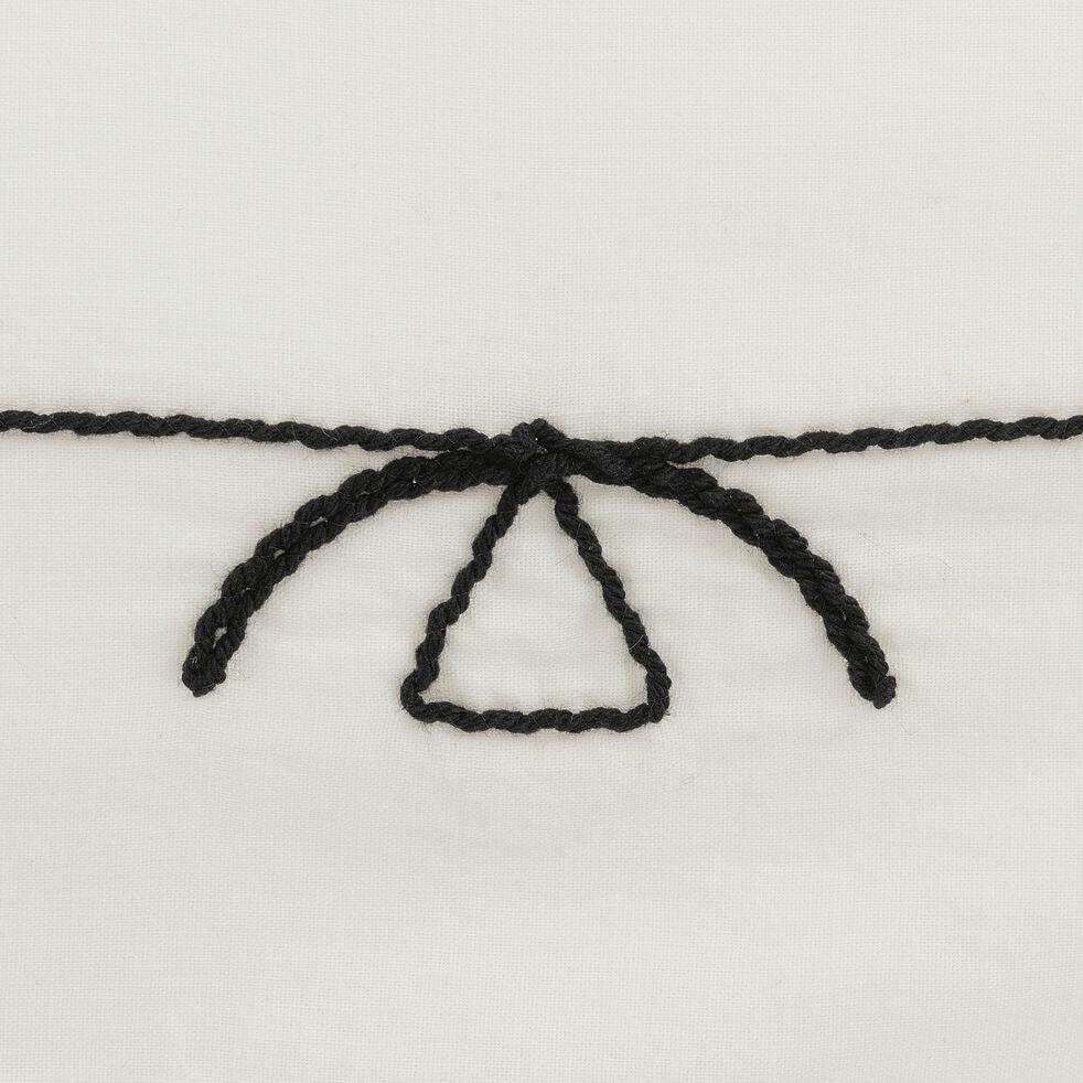 Housse de couette brodée et 2 taies d'oreiller en coton - noir et blanc 240x220cm-EGYPTIAN