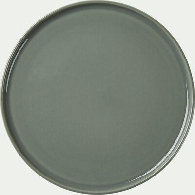Assiette plate en faïence vert cèdre D27cm-VADIM