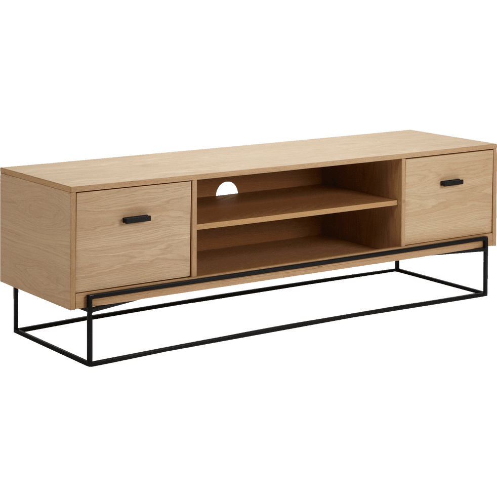 meuble tv en acier et placage ch ne cesarine meubles. Black Bedroom Furniture Sets. Home Design Ideas