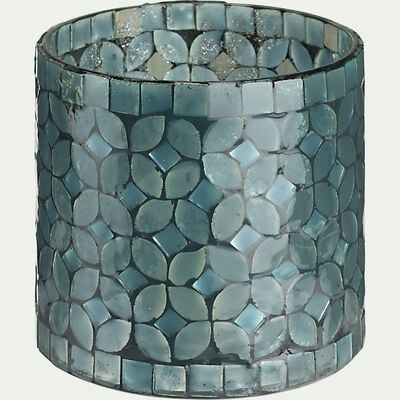 Photophore à poser en verre - bleu D10xH10cm-ANSASOL