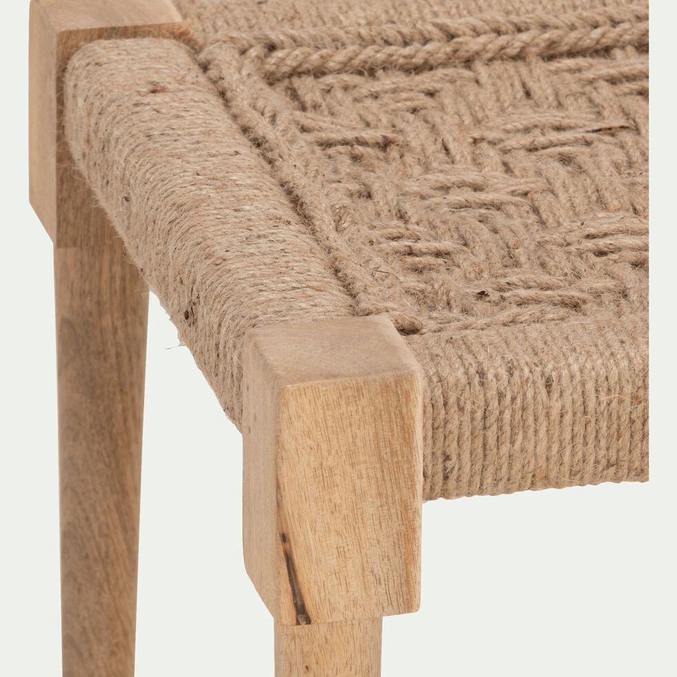 Pouf en bois carré - 40x40cm beige roucas-AGNEL