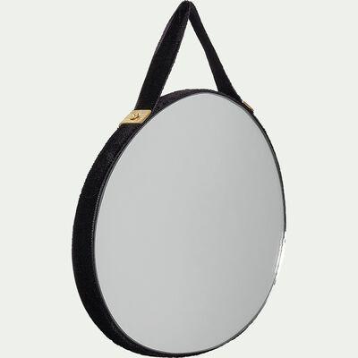 Miroir mural fantaisie en velours - noir 10x13cm-BELISSO