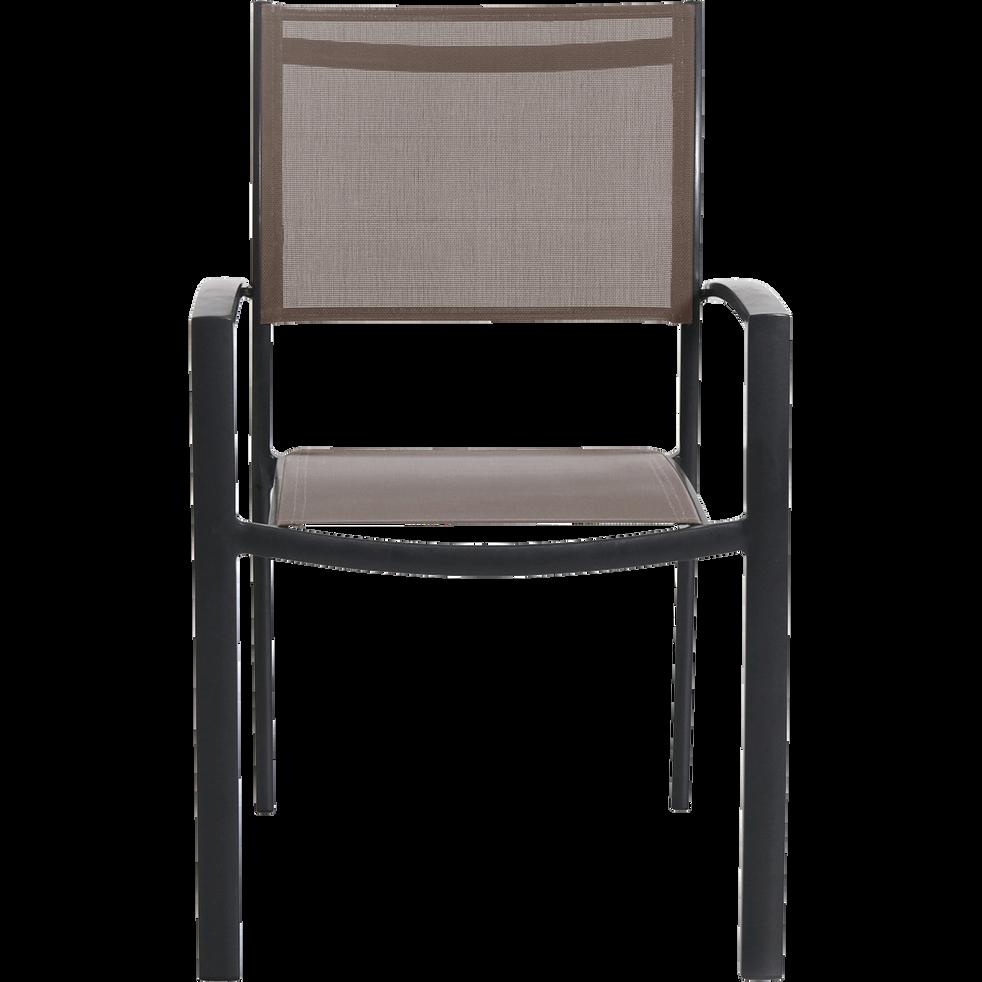 Fauteuil de jardin empilable taupe en textilène - Anna - chaises de ...