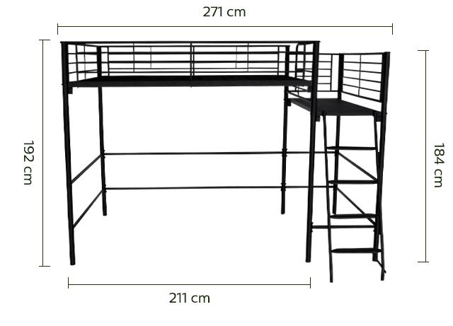 Lit mezzanine 2 places en acier Noir avec plateforme - 140x200 cm-ALEXY