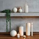 8 bougies flambeaux blanc ventoux H18cm-HALBA