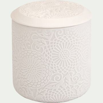 Boîte déco gravure florale en grès - blanc D10xH11cm-MANDAWA