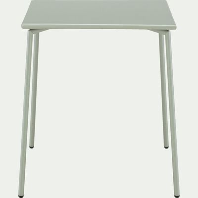 Table de jardin carrée en métal - vert olivier (4 places)-Ligia
