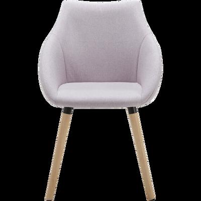 Chaise en tissu rose pâle avec accoudoirs-NOELIE