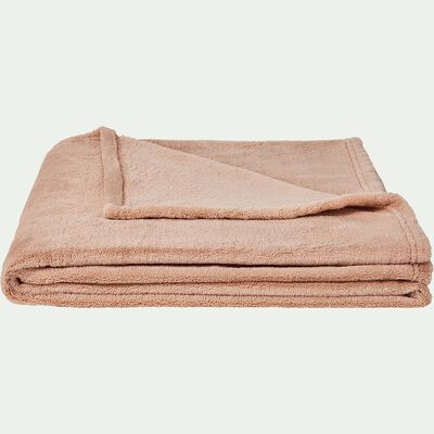 Plaid effet polaire en polyester - rose argile 230x250cm-ROBIN