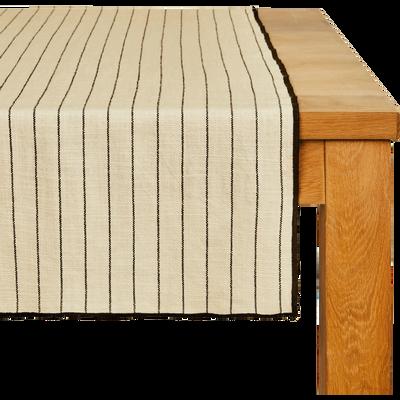 Chemin de table en coton blanc et noir 50x200cm-BADIANE