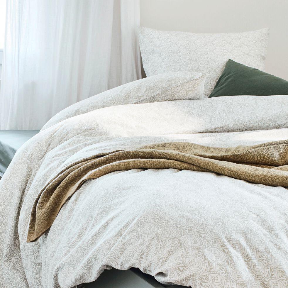 Housse de couette en coton motif Amande - gris borie 240x220cm-CIGALO