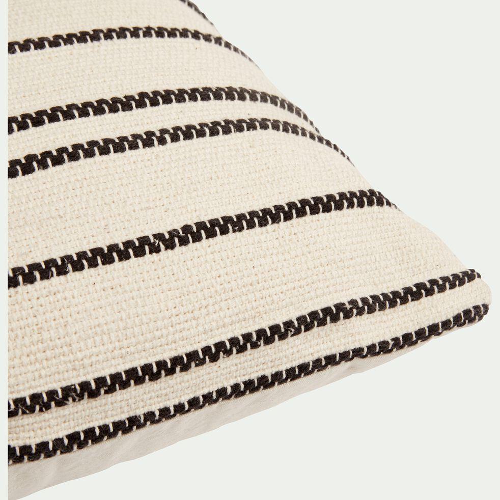 Coussin à rayures brodées en coton - noir et écru 45x45cm-BADIANE