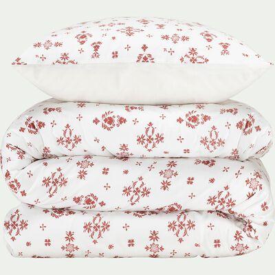 Housse de couette et 2 taies d'oreiller en coton inspiration slave – rouge 240x220cm-LEZZI
