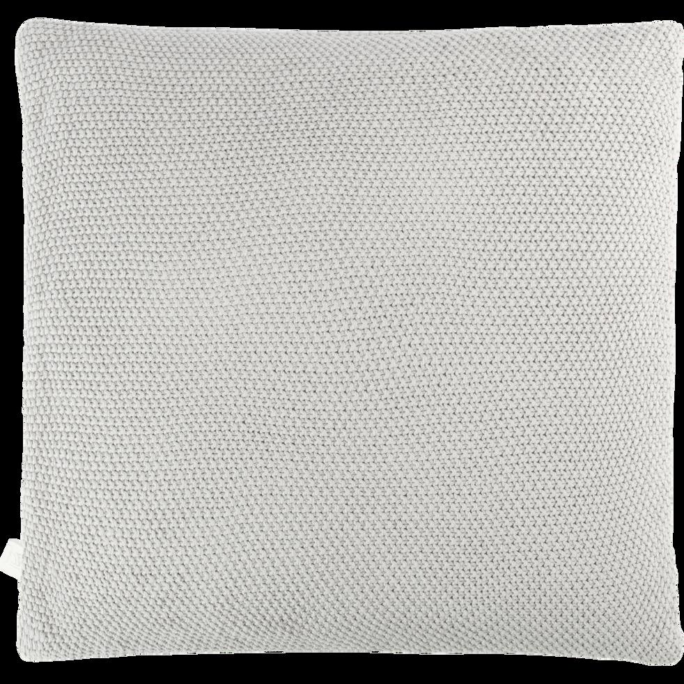 Coussin tricoté en coton gris borie 40x40cm-VERDON