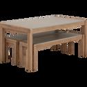 Table et bancs de jardin en acacia massif-Escala