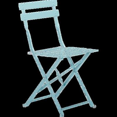 Chaise De Jardin Pliante Bleue Grise En Acier PIMS