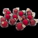 16 mini boules en verre bordeaux D3,5cm-OLAN