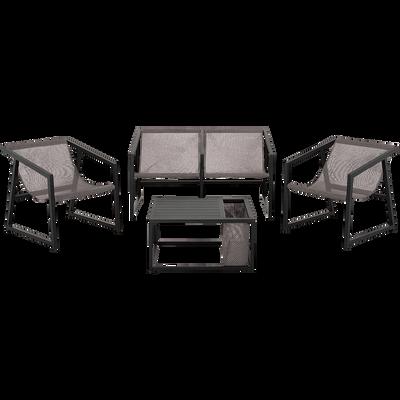 Salon de jardin en aluminium noir (4 places)-TIVAT