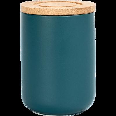Pot en porcelaine bleu avec couvercle en bambou D8xH11 cm-JAN
