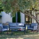 Salon de jardin en aluminium gris (4 places)-SARTENE