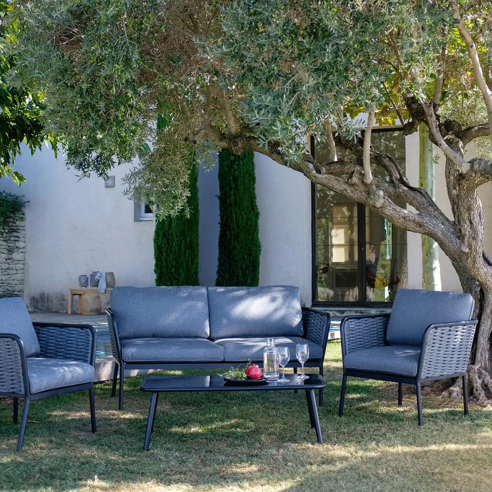 Salon de jardin en aluminium gris (4 places) - SARTENE - salons de ...
