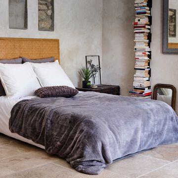 Couvre lit imitation fourrure  - gris restanque 180x220cm-MARIUS