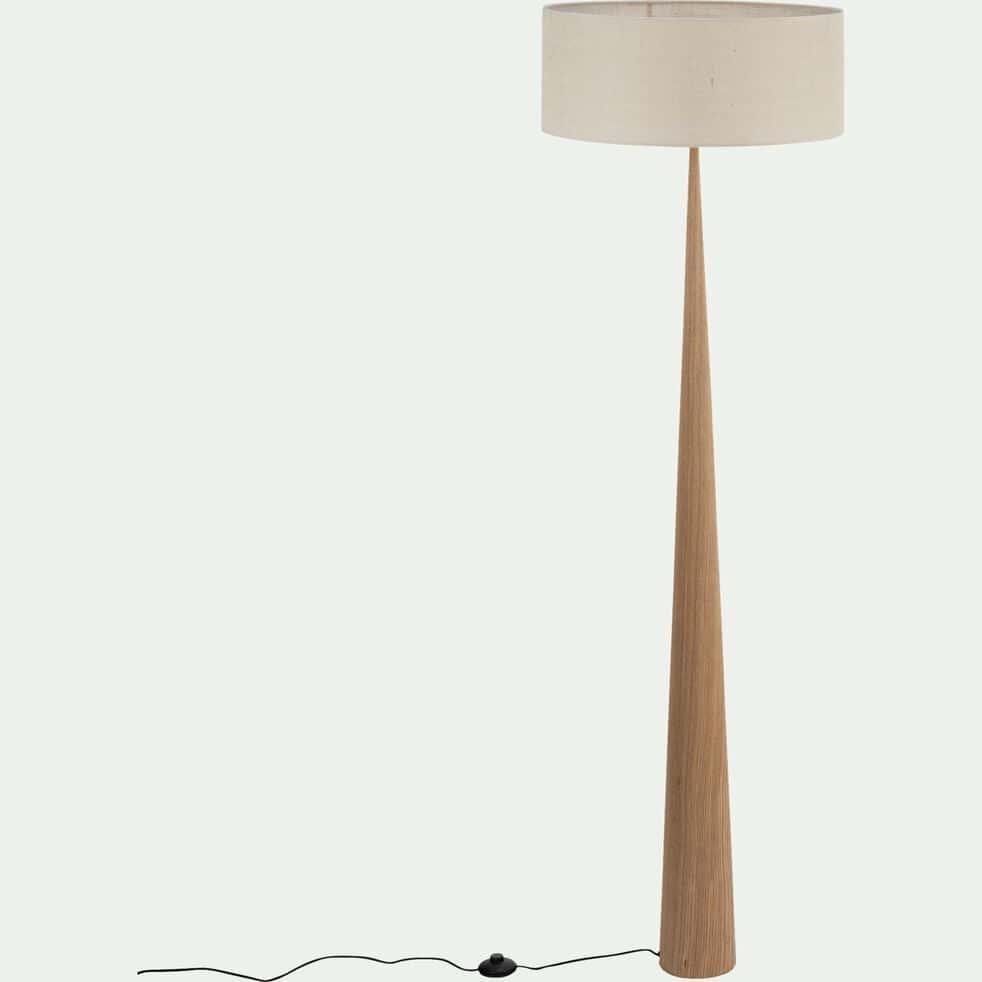 Lampadaire en bois clair - blanc écru D50cm-KONE