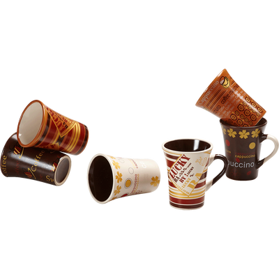 Coffret 6 tasses à café blanc et marron-Collector