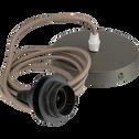 Cordon électrique en tissu brun châtaignier culot E27 L150cm-ARGUIN