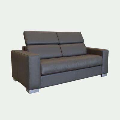 Canapé 2 places fixe en cuir avec accoudoir 20cm - taupe-MAURO
