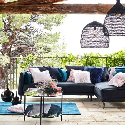 Canapé d'angle fixe droit en tissu - noir calabrun-ASTELLO