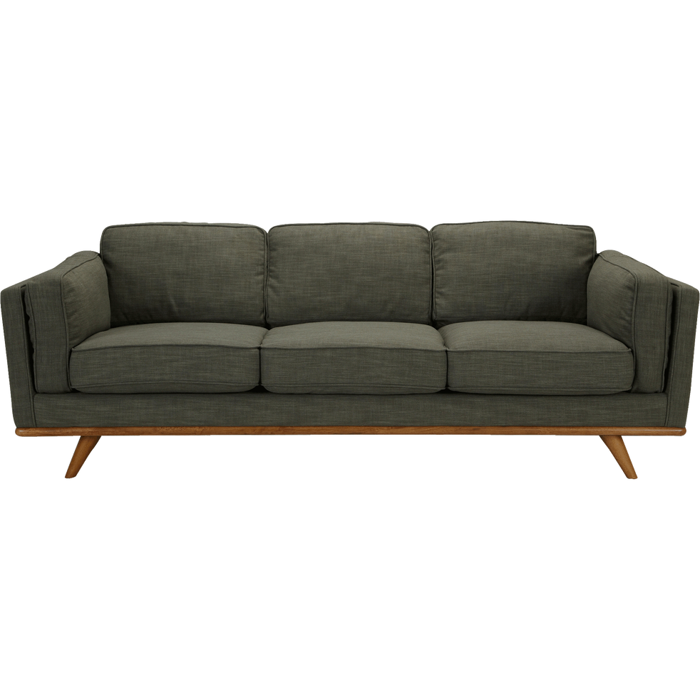 Canapé 3 places fixe en tissu vert cèdre - ASTORIA ...