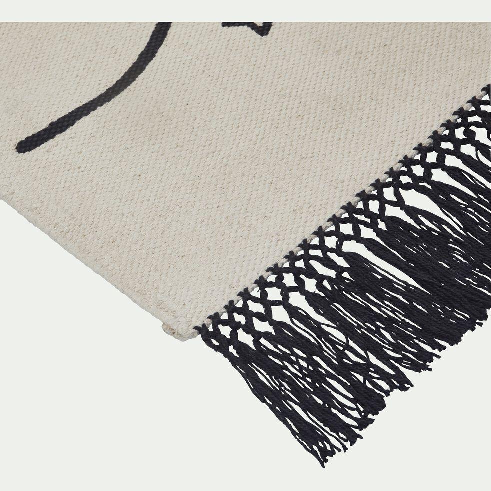 Tapis imprimé marelle 100x160 cm - beige et noir-SALEON