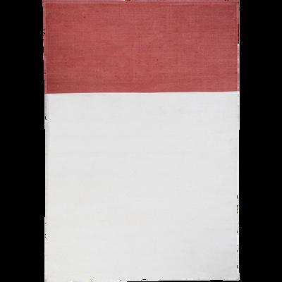 Tapis tissé beige et rouge 120x170cm-SOLEDAD