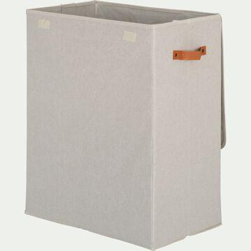 Panier à linge double en polycoton - blanc H60xL50cm-ERRO