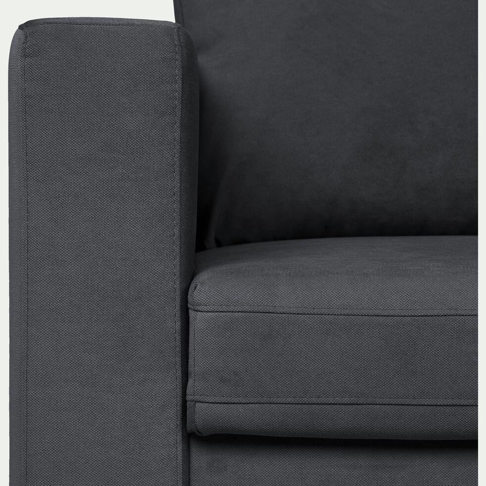 Canapé 3 places fixe en tissu gris calabrun-MORGIOU