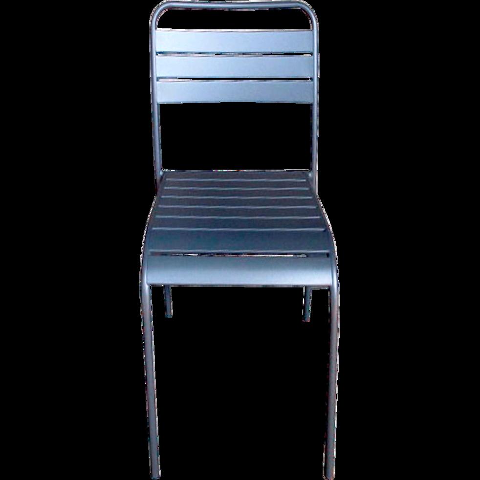 Chaise de jardin empilable grise en acier-SOURIS