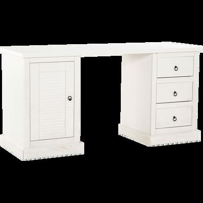 Bureau en pin brossé coloris blanc-LOUISE