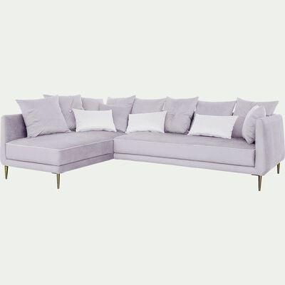 Canapé d'angle fixe gauche en tissu - gris borie-ASTELLO