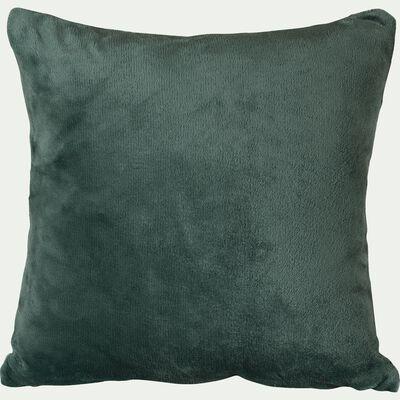 Housse de coussin effet polaire en polyester - vert cèdre 40x40cm-ROBIN