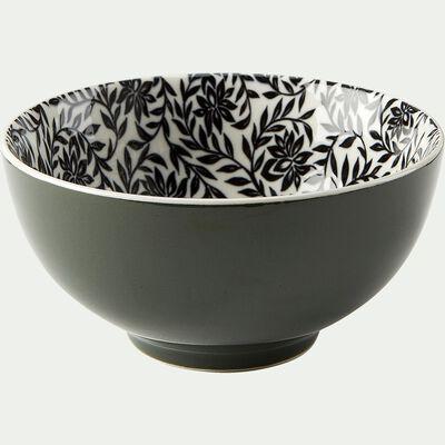 Coupelle en porcelaine motifs jasmin - vert cèdre  D11,5cm-AIX