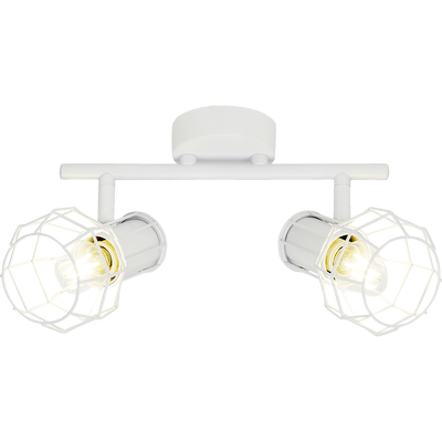 Plafonnier à 2 spots en métal filaire blanc L25cm-SIZA