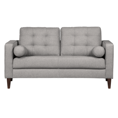 Canapé 2 places fixe en tissu gris borie-ROMEO