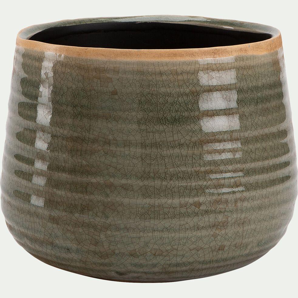 Pot craquelé en céramique - vert D21xH17cm-PABAI