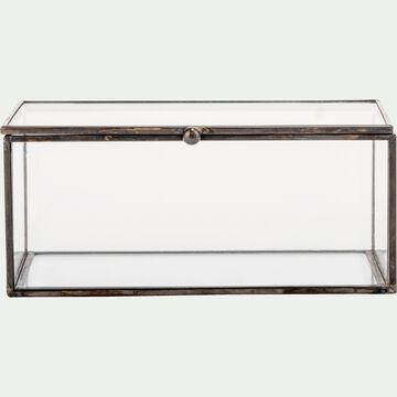 Boîte décorative en verre et fer - noir L17xl11xH7cm-ASTER